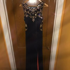 Navy blue and peach prom dress